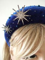 Sapphire Blue and  Snowflakes Wide Velvet Embellished Headband, Padded Headband, Thick Padded Headband. Winter Wedding Guest Outfits. Velvet Fascinator. Winter Wedding Fascinators, Winter Velvet Headband. Blair Waldorf Headband. Royal Blue Fascinator. Royal Blue Fascinator